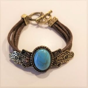 Vintage Look Boho Blue & Brown Bracelet